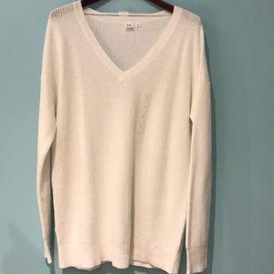 GAP White Sweater V-neck Size Large NWT